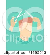 Man Haircut Scissors Comb Illustration