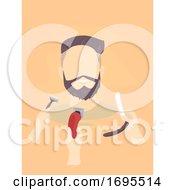 Poster, Art Print Of Man Hand Shaving Tools Illustration