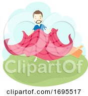 Man Preparing Picnic Cloth Illustration