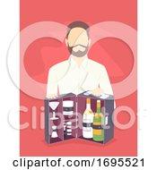Man Travel Bar Bag Illustration