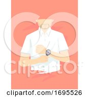 Man Wearing Watch Illustration