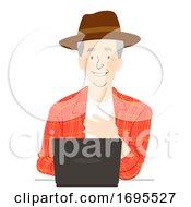 Senior Man Farmer Laptop Illustration