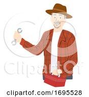 Senior Man Farmer Mechanic Illustration