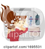 Poster, Art Print Of Teen Girl Life In Space Wash Hair Illustration
