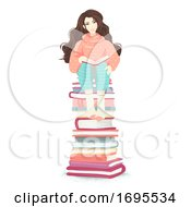Poster, Art Print Of Girl Book Pile Sit Illustration