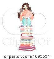 Girl Book Pile Sit Illustration