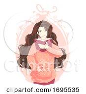 Girl Book Read Frame Illustration