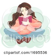 Poster, Art Print Of Girl Book Read Indian Sit Illustration