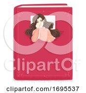 Girl Book Window Illustration