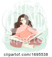 Poster, Art Print Of Girl Book Wood Illustration