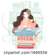 Girl Drinks Books Table Illustration