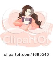 Girl Book Read Bed Illustration