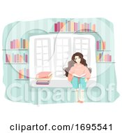 Girl Read Book Window Illustration