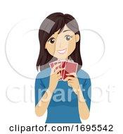 Teen Girl Card Game Illustration