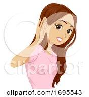 Teen Girl Ear Hear Listen Illustration