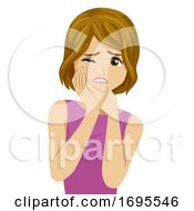Poster, Art Print Of Teen Girl Toothache Tooth Pain Illustration