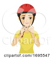 Teen Girl Wear Safety Helmet Illustration