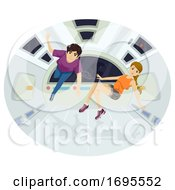 Poster, Art Print Of Teens Couple Float Space Illustration