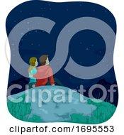 Couple Mountain Top Stargazing Illustration