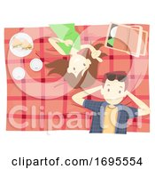 Couple Picnic Cloth Relax Top View Illustration