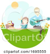 Poster, Art Print Of Couple Picnic Guitar Read Book Illustration