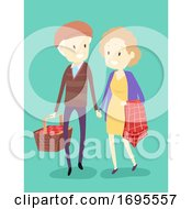 Senior Couple Picnic Basket Cloth Illustration