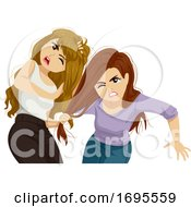 Teens Girls Fight Illustration