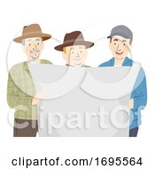 Poster, Art Print Of Man Farmers Blueprint Illustration