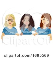 Teen Girls University Shirt Board Illustration