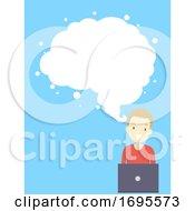 Teen Guy Design Thinking Cloud Brain Illustration