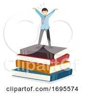 Poster, Art Print Of Teen Guy Student Success Books Illustration