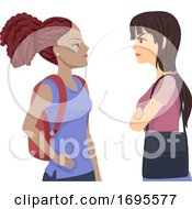 Teens Girls Student Conflict Illustration