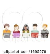 Teens Group Laptops Illustration