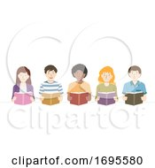 Poster, Art Print Of Teens Group Read Books Illustration
