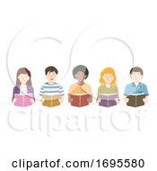 Teens Group Read Books Illustration