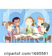 Teens Group Writing Illustration