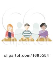 Teens Student Meditation Class Illustration