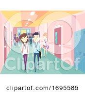 Teens Student School Hallway Illustration