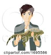 Teen Boy Hold Reptile Iguana Illustration
