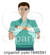 Teen Guy American Food Geoduck Illustration