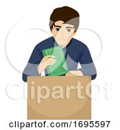 Poster, Art Print Of Teen Guy Pack College Box Book Illustration