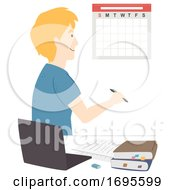 Teen Guy Study Plan Calendar Illustration