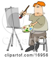 Red Haired Male Artist Sitting On A Stool And Holding A Palette While Oil Painting A Portrait On A Canvas On An Easel