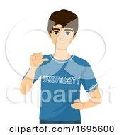 Teen Guy University Shirt Illustration