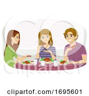 Teens American Food Barbecue Ribs Illustration