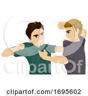 Teens Boys Fight Illustration