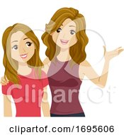 Teens Girls Adolescence Sister Advice Illustration