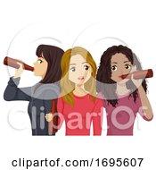 Teens Girls Drink Beer Illustration