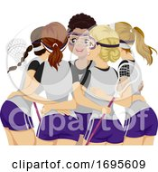 Poster, Art Print Of Teens Girls Sports Club Lacrosse Illustration