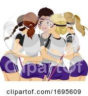 Teens Girls Sports Club Lacrosse Illustration
